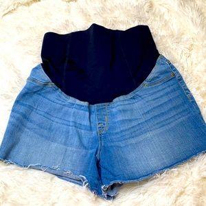 Isabel Maternity Raw Hem Blue Jean Shorts Medium